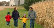 man and woman walking with two children next to a cornfield