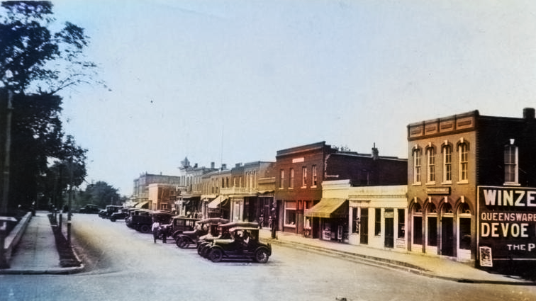 Colorized Historical image of Troy, Kansas street in the 1920s
